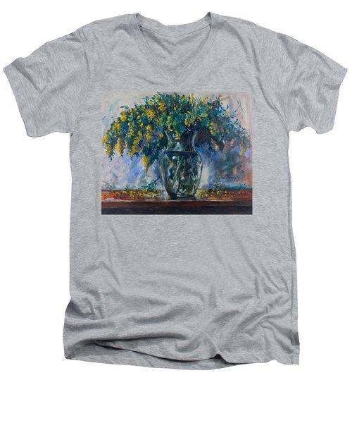 Mimosa Men's V-Neck T-Shirt by Maxim Komissarchik