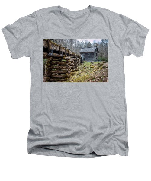 Mingus Millrace And Mill In Late Winter Men's V-Neck T-Shirt