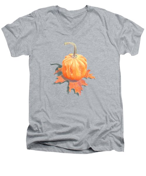 Miniature Pumpkin On Oak Leaf Still Life Men's V-Neck T-Shirt
