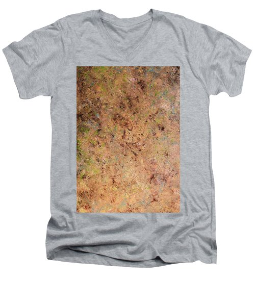 Men's V-Neck T-Shirt featuring the painting Minimal 7 by James W Johnson
