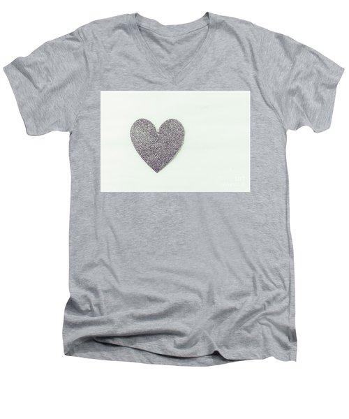 Minimalistic Silver Glitter Heart Men's V-Neck T-Shirt