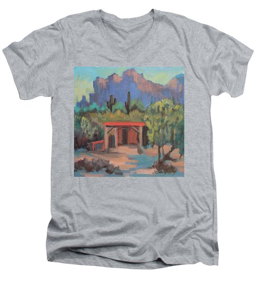 Men's V-Neck T-Shirt featuring the painting Mining Camp At Superstition Mountain Museum by Diane McClary