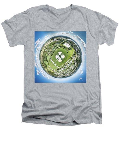 Men's V-Neck T-Shirt featuring the photograph Miniwaukan Park Little Planet by Randy Scherkenbach