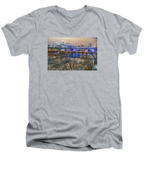 Minneapolis Bridges Men's V-Neck T-Shirt by Craig Voth