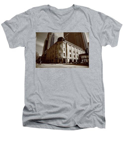 Men's V-Neck T-Shirt featuring the photograph Minneapolis Downtown Sepia by Frank Romeo