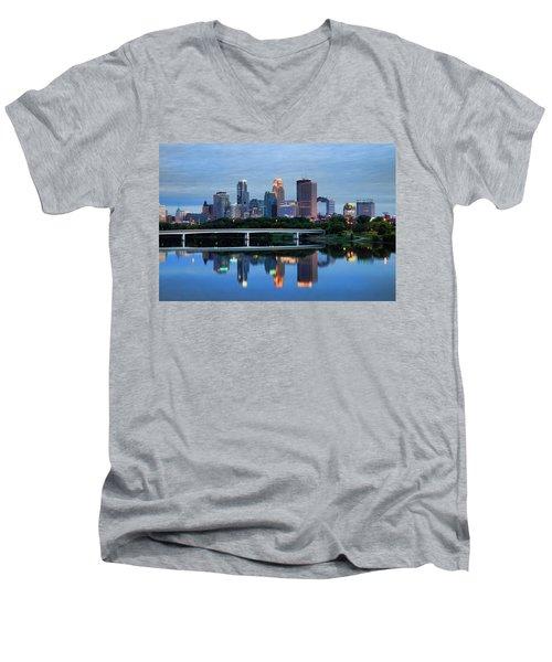 Minneapolis Reflections Men's V-Neck T-Shirt by Rick Berk