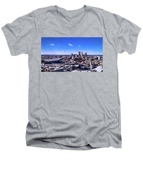 Minneapolis Skyline On A Sunny Day Men's V-Neck T-Shirt