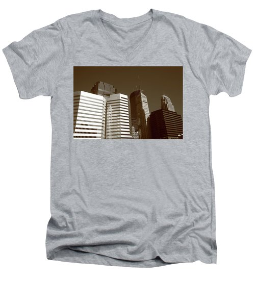 Men's V-Neck T-Shirt featuring the photograph Minneapolis Skyscrapers 5 Sepia by Frank Romeo