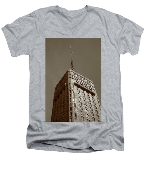 Men's V-Neck T-Shirt featuring the photograph Minneapolis Tower 6 Sepia by Frank Romeo