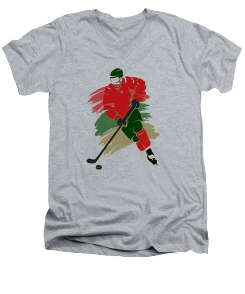 Minnesota Wild Player Shirt Men's V-Neck T-Shirt by Joe Hamilton
