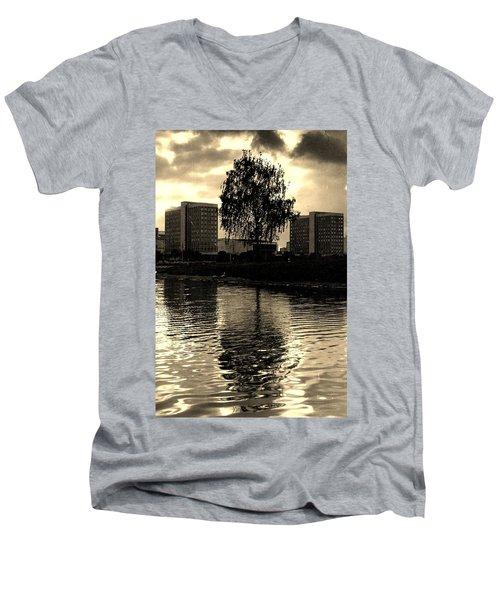 Minsk Dramatic View Men's V-Neck T-Shirt by Vadim Levin