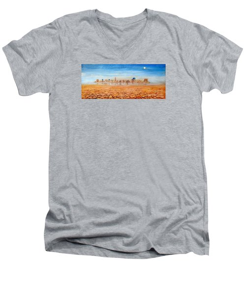 Men's V-Neck T-Shirt featuring the painting Mirage City by Arturas Slapsys