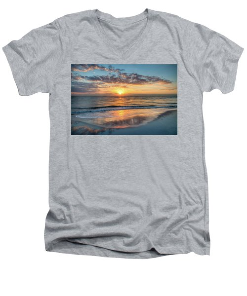 Men's V-Neck T-Shirt featuring the photograph Mirror At Sunrise by Debra and Dave Vanderlaan