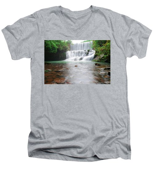 Men's V-Neck T-Shirt featuring the photograph Mirror Lake Falls 2 by Renee Hardison