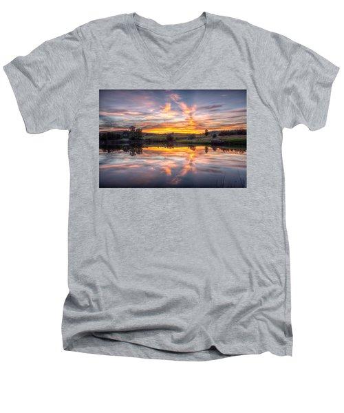 Mirror Lake Sunset Men's V-Neck T-Shirt