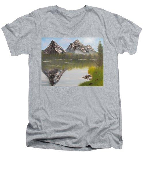 Mirror Mountain Men's V-Neck T-Shirt by Thomas Janos