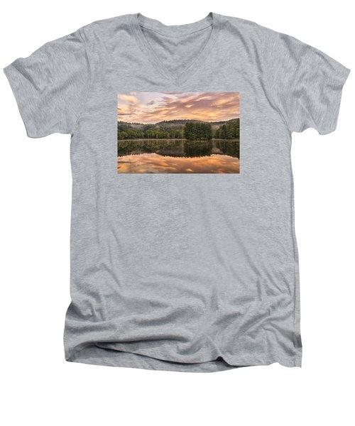Bass Lake Sunrise - Moses Cone Blue Ridge Parkway Men's V-Neck T-Shirt