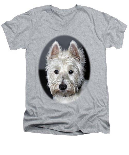 Mischievous Westie Dog Men's V-Neck T-Shirt by Bob Slitzan