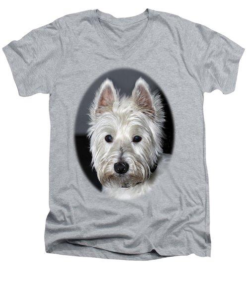 Mischievous Westie Dog Men's V-Neck T-Shirt