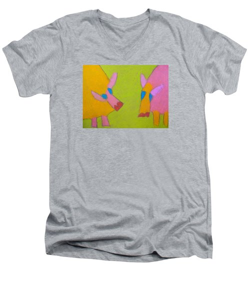 Men's V-Neck T-Shirt featuring the pastel Mischievous Pigs by Artists With Autism Inc