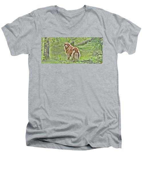 Miss B Men's V-Neck T-Shirt by Rhonda McDougall