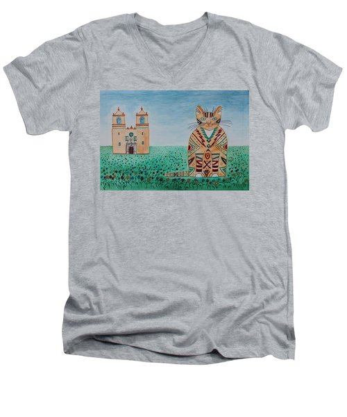 Mission Concepcion Cat Men's V-Neck T-Shirt