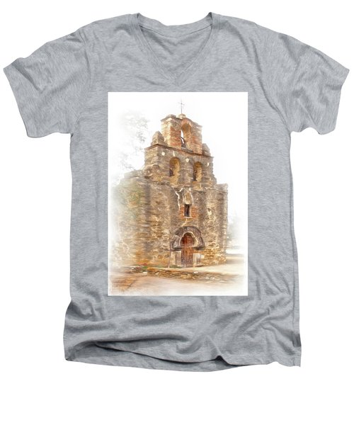 Men's V-Neck T-Shirt featuring the photograph Mission San Francisco De La Espada In Faux Pencil Drawing  by David and Carol Kelly