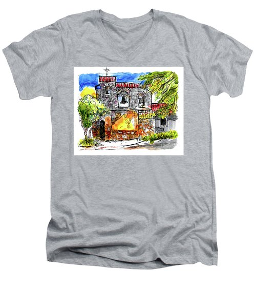 Mission San Miguel Men's V-Neck T-Shirt by Terry Banderas