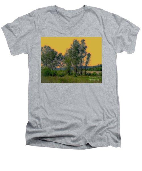 Mississippi Estuary Men's V-Neck T-Shirt by Nancy Kane Chapman