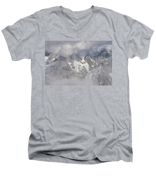 Mist And Clouds At Auiguille Du Midi Men's V-Neck T-Shirt