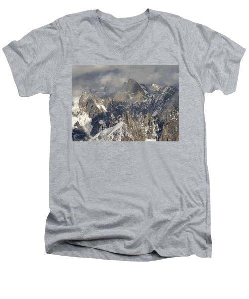 Mist And Light At Aiguille Du Midi Men's V-Neck T-Shirt