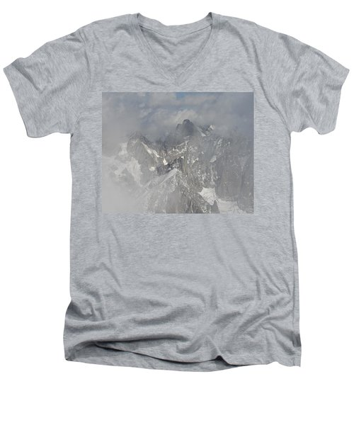Mist At Aiguille Du Midi Men's V-Neck T-Shirt