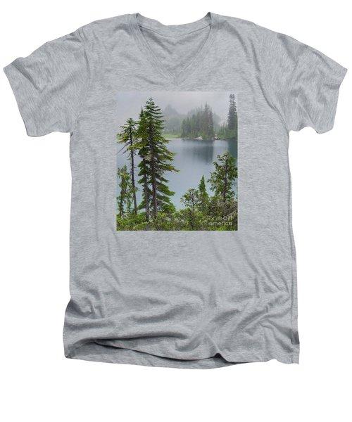 Mist At Snow Lake Men's V-Neck T-Shirt