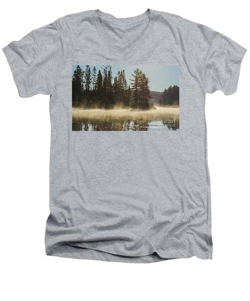 Mist On Costello Lake Men's V-Neck T-Shirt