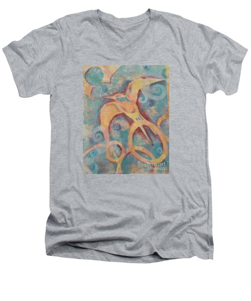 Men's V-Neck T-Shirt featuring the painting Mistral's Messenger by Cynthia Lagoudakis