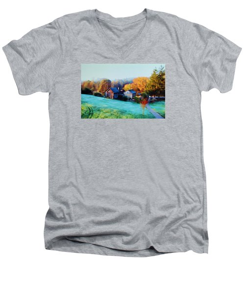 Men's V-Neck T-Shirt featuring the photograph Misty Autumn Day by Diane Alexander