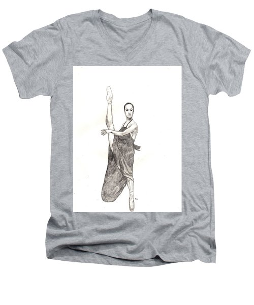 Misty Ballerina Dancer  Men's V-Neck T-Shirt