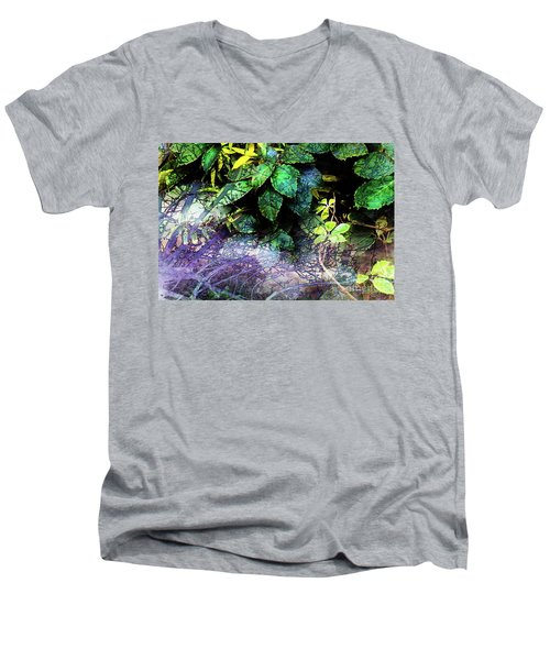 Misty Branches Men's V-Neck T-Shirt by Deborah Nakano