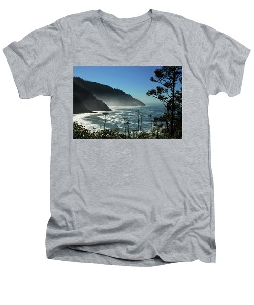 Misty Coast At Heceta Head Men's V-Neck T-Shirt