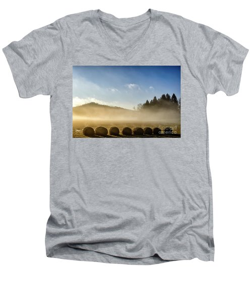 Men's V-Neck T-Shirt featuring the photograph Misty Country Morning by Thomas R Fletcher