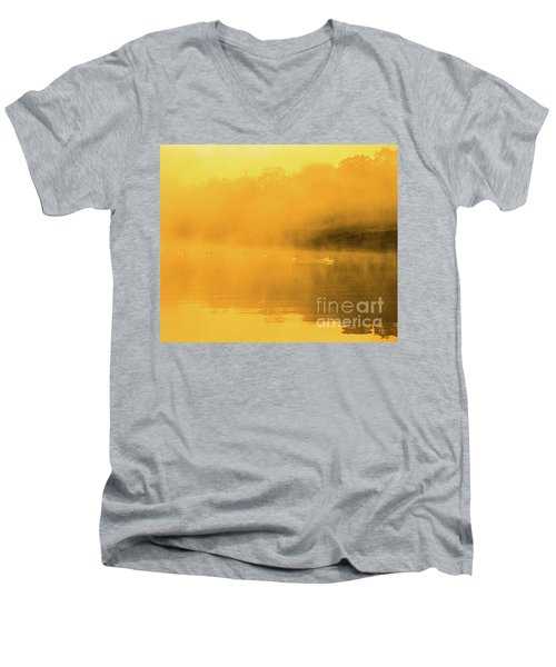 Misty Gold Men's V-Neck T-Shirt by Tatsuya Atarashi