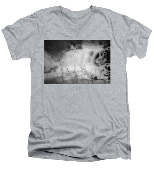 Misty Icy Waterfall Men's V-Neck T-Shirt