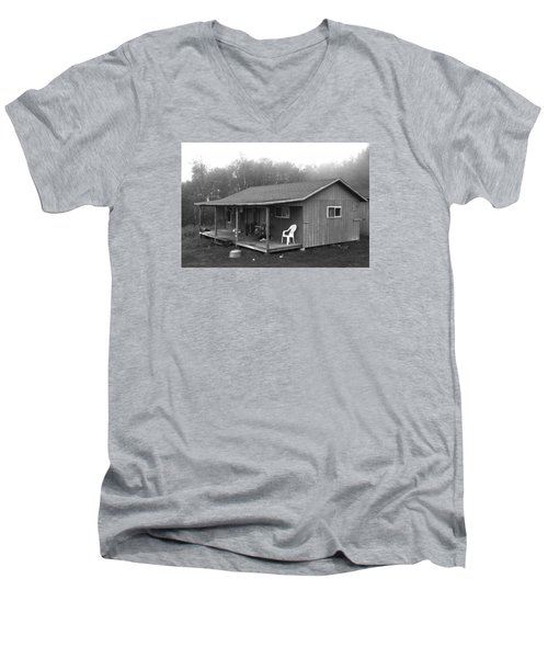 Misty Morning At The Cabin Men's V-Neck T-Shirt
