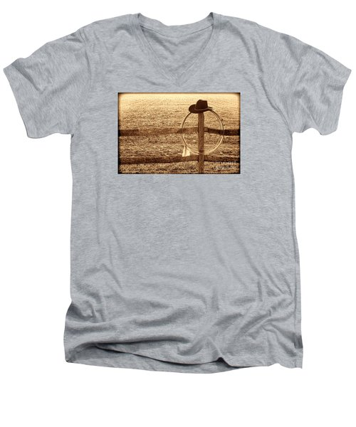 Misty Morning At The Ranch Men's V-Neck T-Shirt by American West Legend By Olivier Le Queinec
