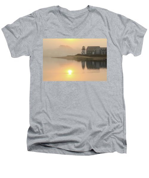 Men's V-Neck T-Shirt featuring the photograph Misty Morning Hyannis Harbor Lighthouse by Roupen  Baker