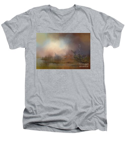 Misty Morning Men's V-Neck T-Shirt by Kathy Russell
