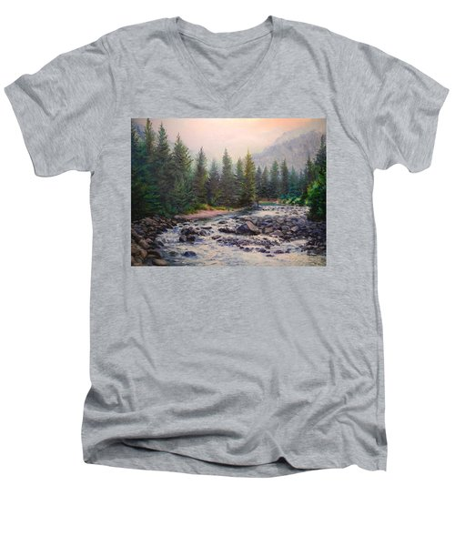 Misty Morning On East Rosebud River Men's V-Neck T-Shirt by Patti Gordon