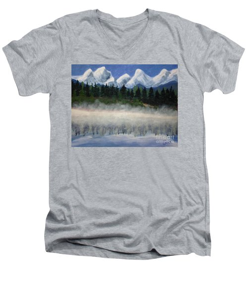 Misty Morning On The Mountain Men's V-Neck T-Shirt