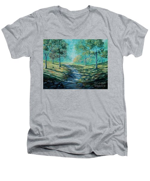 Misty Morning Path Men's V-Neck T-Shirt by Ruanna Sion Shadd a'Dann'l Yoder