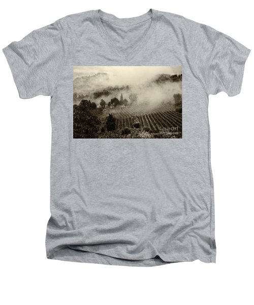 Misty Morning Men's V-Neck T-Shirt by Silvia Ganora
